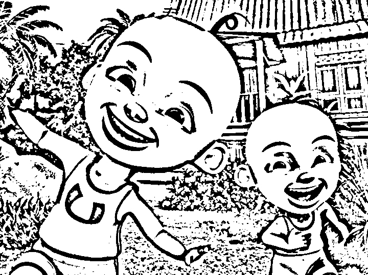 Upin Ipin Pages Coloring 1